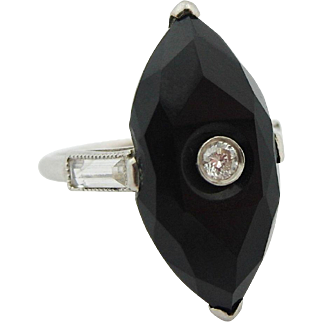 AS IS  Art Deco Onyx & Natural Diamond Vintage Platinum Marquise Ring Women's sz 5.5