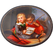 Victorian Painted Porcelain Pin Brooch in Silver with Children Reading 2.25""