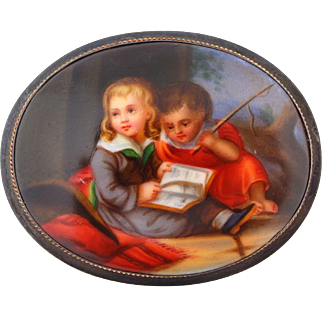 """Victorian Painted Porcelain Pin Brooch in Silver with Children Reading 2.25"""""""
