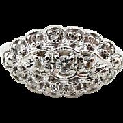Mid Century Vintage Diamond Ring in 14k White Gold by Rhapsody