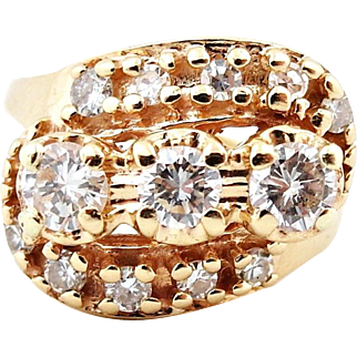 Mid Century .95ct Diamond Cluster Vintage Ring in 14k Yellow Gold