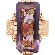 Victorian Rose of Sharon Amethyst Diamond Ring in 14k Rose Gold  AS IS