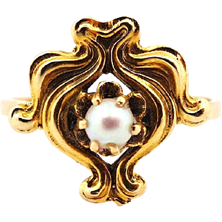 Vintage Stick Pin Conversion Delicate Pearl Ring in 14k Yellow Gold size 8