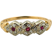 Vintage Diamond and Ruby Braided Ring Band 14k Yellow Gold sz 4