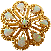 Vintage Fiery Opal Pin Floral Brooch in Solid 14k Yellow Gold 1.25""