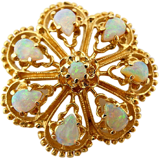 """Vintage Fiery Opal Pin Floral Brooch in Solid 14k Yellow Gold 1.25"""""""