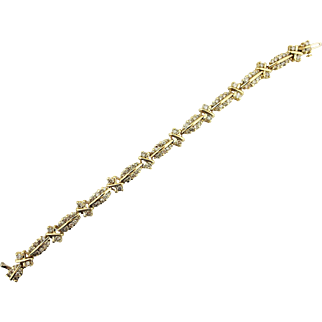 Vintage Glittery Champagne 4 Carat Natural Diamond Bracelet Tennis 14k Yellow Gold