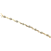 "Vintage 4 Carat 100% Natural Diamond Bracelet Flower Tennis 14k Yellow Gold 7"""