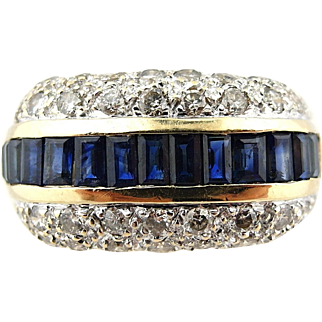 Retro 3.10 tcw Sapphire and Diamond Estate Ring Wide Band in 14k Yellow Gold