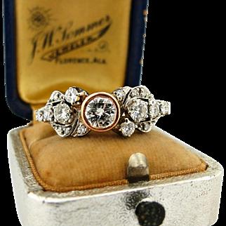 Vintage Art Deco 1.85tw Diamond Upcycled Ring 14k White Rose Gold Eternity Band