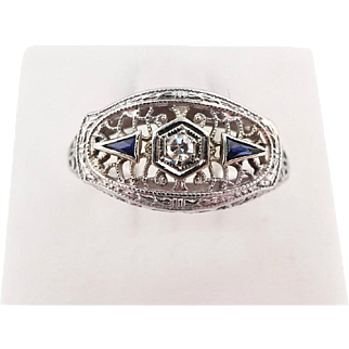 Vintage 1920's Art Deco Diamond & Sapphire Ring Filigree 18k White Gold sz 9