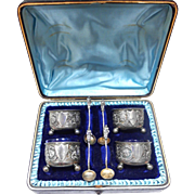 1884 George Unite Antique Sterling Silver Salt Cellars Cobalt Glass Set 4 w/ Original Case