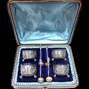 1884 George Unite Antique Sterling Silver Salt Cellars Cobalt Glass Set 4 w/ Original Case