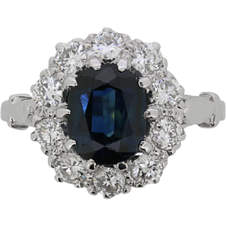 Vintage Sapphire and Diamond Halo Cluster Ring, c.1950s