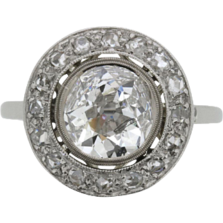 Art Deco Halo Diamond Ring, c.1920s