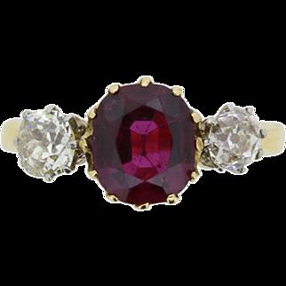 Victorian Ruby and Diamond Three Stone Ring, c.1880s