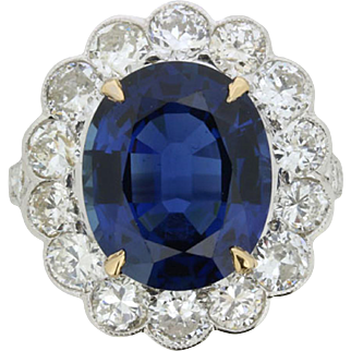 Certified 7.10 Carat Sapphire & 2.40 Carat Diamond Halo Ring, c.1940s