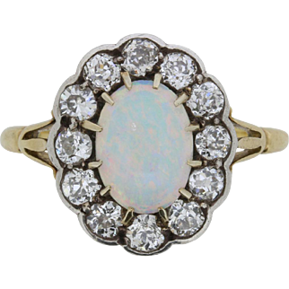 Victorian Opal and Old Cut Diamond Ring, c.1880s