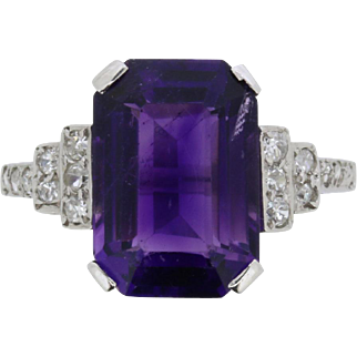 Art Deco Amethyst and Diamond Ring, c.1920s