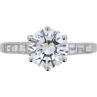 Vintage GIA Certified 2.01 Carat Diamond Engagement Ring, c.1940s