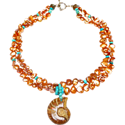 Natural Ammonite Complements Double Strand of Baroque Cultured Dyed Keshi Peals and Natural, Stabilized Turquoise