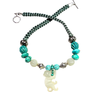 Cheeky White Nephrite Jade Monkey on a Necklace of Stabilized, Natural Turquoise, Silver and Jade