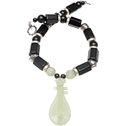 Finely Carved Chinese Guitar in Natural Nephrite Celadon Jade on Necklace of Jet, Sterling Silver and Onyx