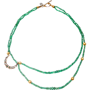 Exquisite Emerald 14 Carat Gold Crescent Moon on Double Strand Necklace of Gem Quality Natural Emeralds