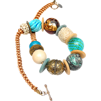 Statement Necklace of Old Turquoise, Bone, Old Nephrite Jade, Handmade Brass, Glass and Wood