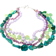 Charming Multi Strand Necklace of Natural Chrysocolla, Wood, Stones, and Lava Beads