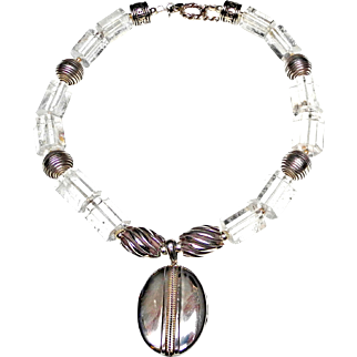 Silver locket on Rock Crystal and Silver Necklace