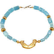 Traditional Afghan 18K Gold Pendant on Necklace of Natural Aquamarine and 18K Gold Beads