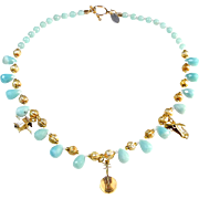 Charming Vintage Chinese Gold Plated Charms on Amazonite Necklace