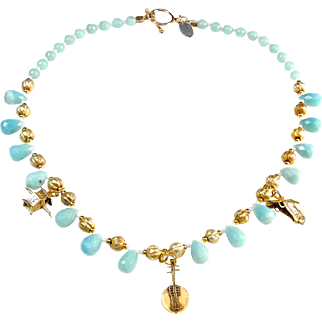 Charming  Chinese Gold Plated Charms on Amazonite Necklace