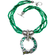 Old Celtic Natural Malachite and Sterling Silver Pendant  on  Four Strand Necklace of Natural Malachite and Sterling Silver