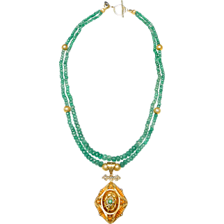 Exquisite 14 CT Gold Locket Inlaid with an Emerald and Cultured Seed Pearls on Double Strand Necklace of Natural Columbian Emeralds