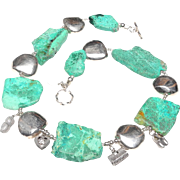 Large Flat Slices of Mat Chrysocolla, Silver Panels and Chinese Pewter Charms