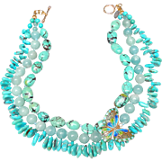 Chinese Enamel Butterfly on a Three Strand Necklace of Turquoise and Amazonite