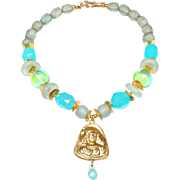 Traditional, Gold Plated Afghan Pendant with Chalcedony Drop on Necklace of Heat Treated Chalcedony, Handmade Glass and Gold Plated Discs
