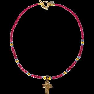 Tudor Period Bronze Cross on Rubies, Tanzanite and 18 ct Gold