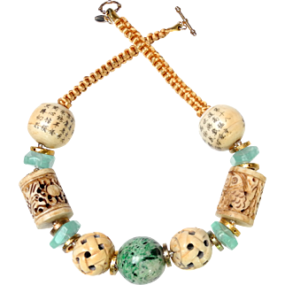 Natural Mottled Green Jadeite  Ball with Hand Carved Bone Beads, Aventurine and Vermeil