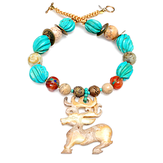 Natural Nephrite Jade Stag Graces a Necklace of Natural Turquoise, Nephrite Jade, Carnelian, Magnesite, and Chinese Coins