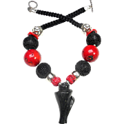 Natural Black Jade Conch Shell on a Necklace of Coral, Silver and Lacquer