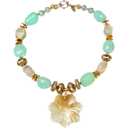 Rare Jade Pendant on Necklace of Chalcedony, Jade and Gold Plated Beads