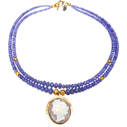Classic Antique Victorian 9 Carat Gold Cameo on Double Strand of Tanzanite and 18 Carat Gold