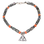 Sterling Silver Celtic Knot on Necklace of Natural Labradorite, Natural Coral and Sterling Silver