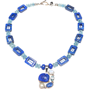 Wonderful Pendant of Lapis, Kyanite, Moonstone, Blue Topaz and Cultured Pearl on Necklace of Lapis and Aquamarine