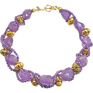 Braided Amethyst Necklace with Afghan Plated Beads