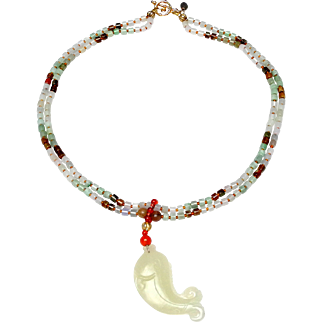 Lively Natural Nephrite Jade Carp Leaps onto a Double Strand Necklace of Green and Brown Natural Jadeite