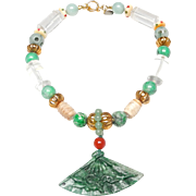 Natural Green Burma Jadeite Carved Fan on Necklace of Natural Jadeite, Rock Crystal, Calcified Nephrite Jade, Natural Carnelian and Old Gold Plated Beads